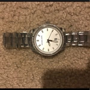 MK Clear and Silver Watch